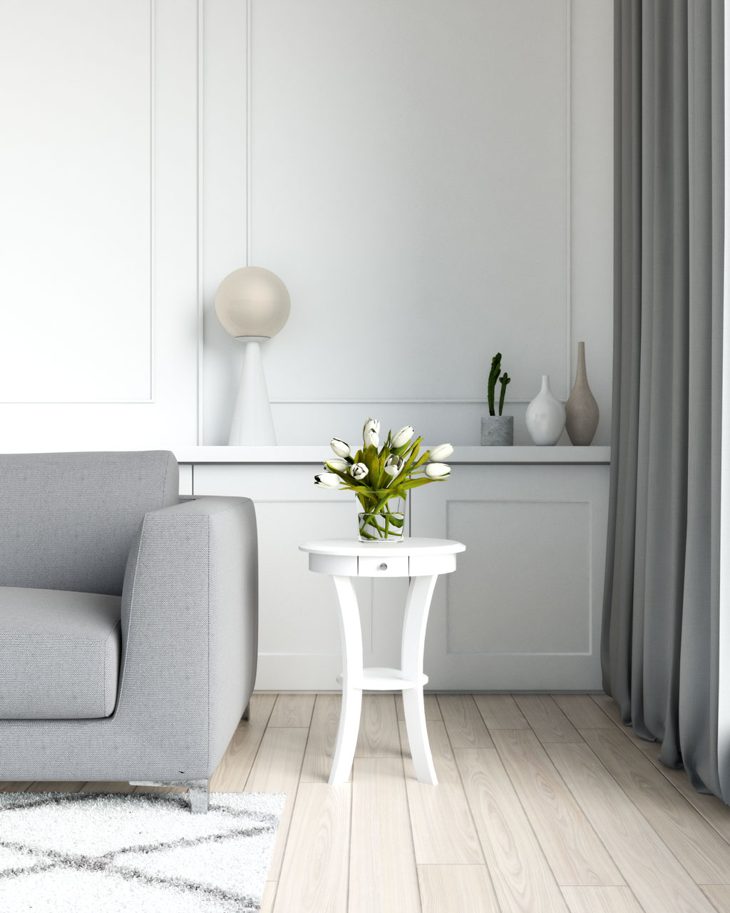 Classic white table with grey couch