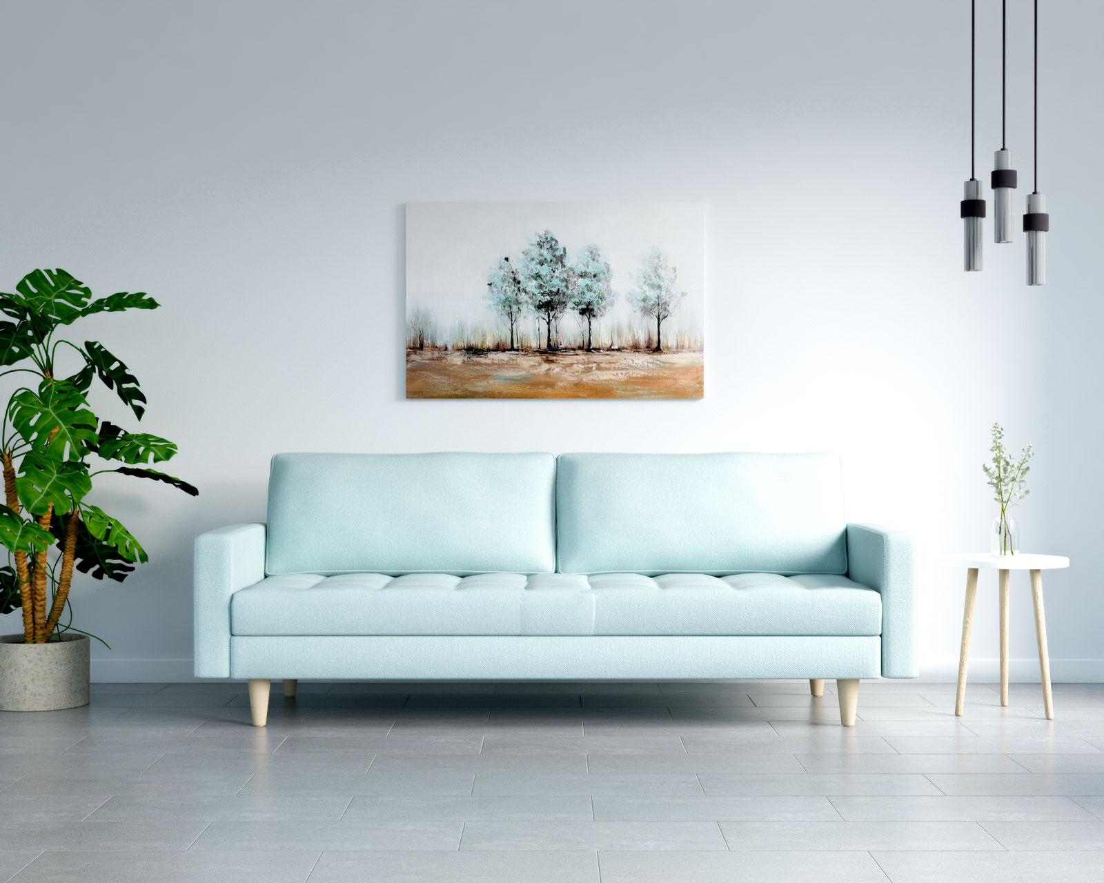 Cyan sofa with gray tile floors