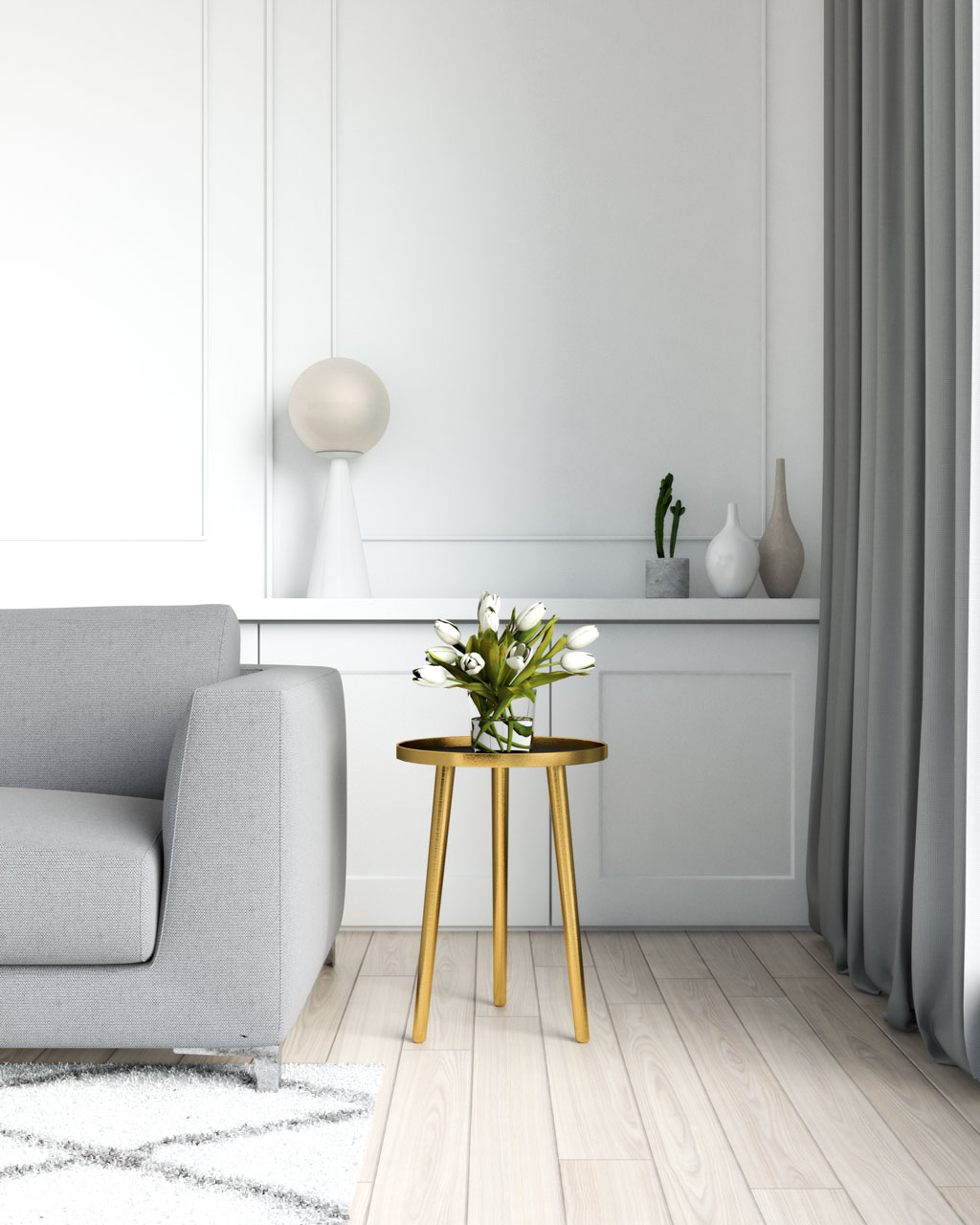Gold table with grey sofa