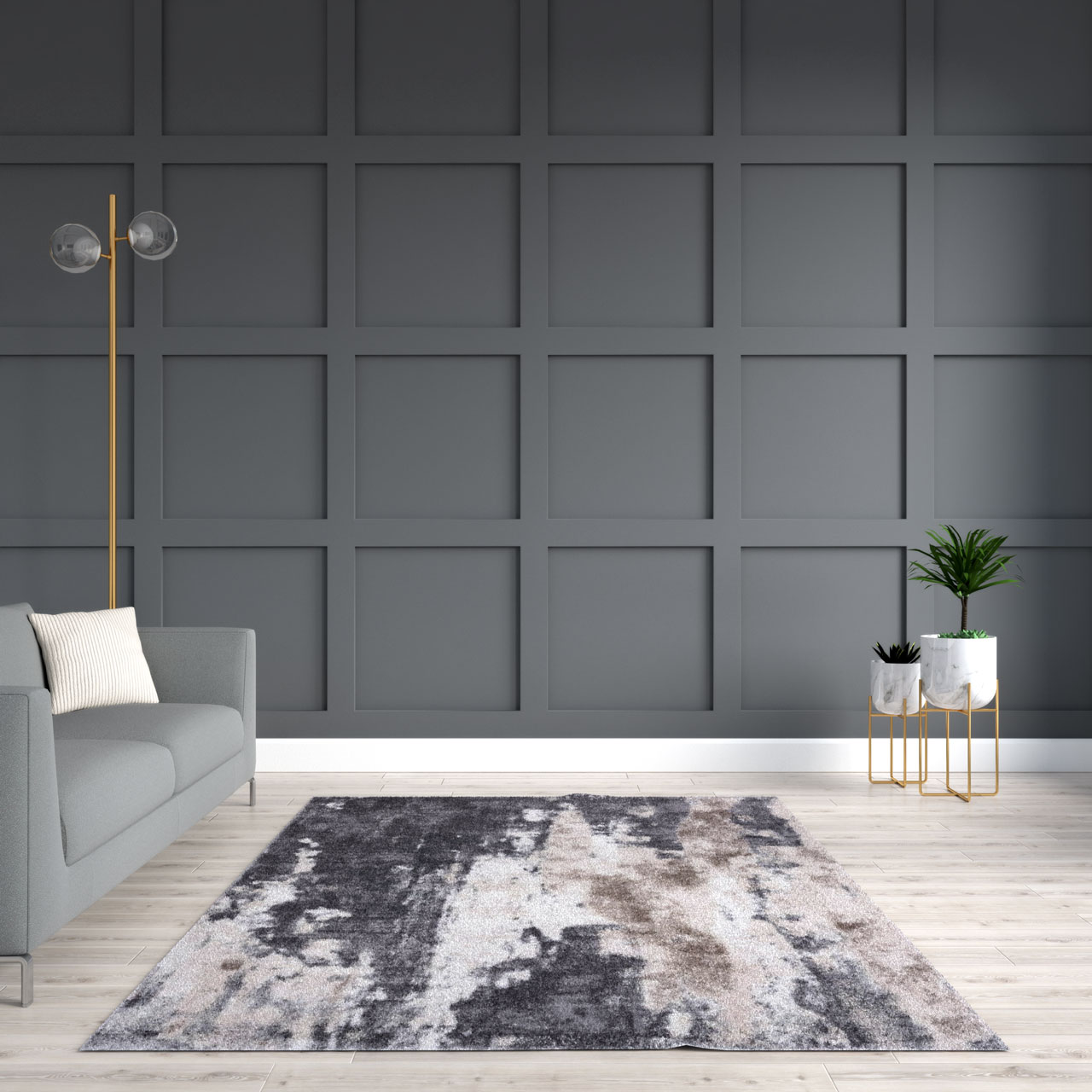 Gray and beige rug in gray living room