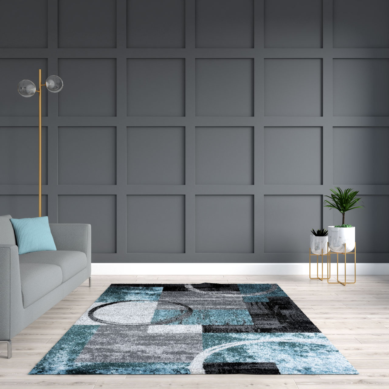 Blue rug with dark gray wall
