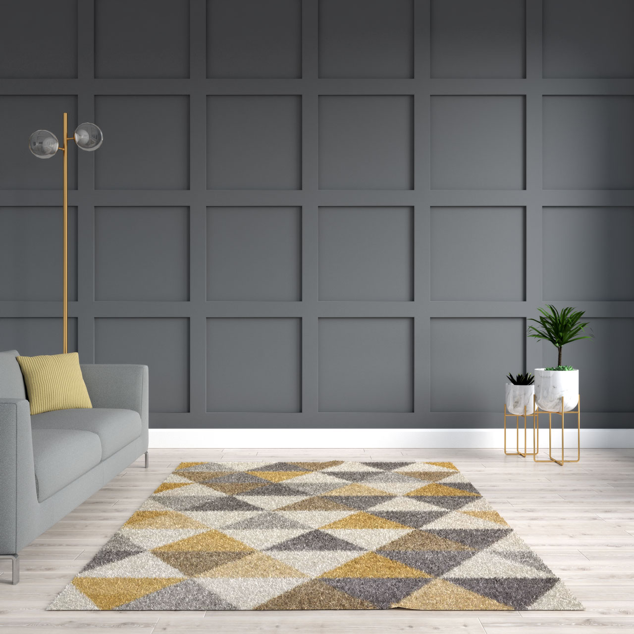 Yellow rug with gray walls