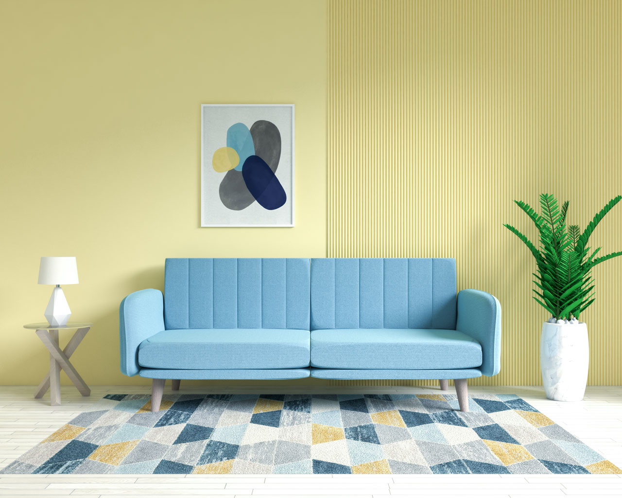Light blue sofa in yellow living room