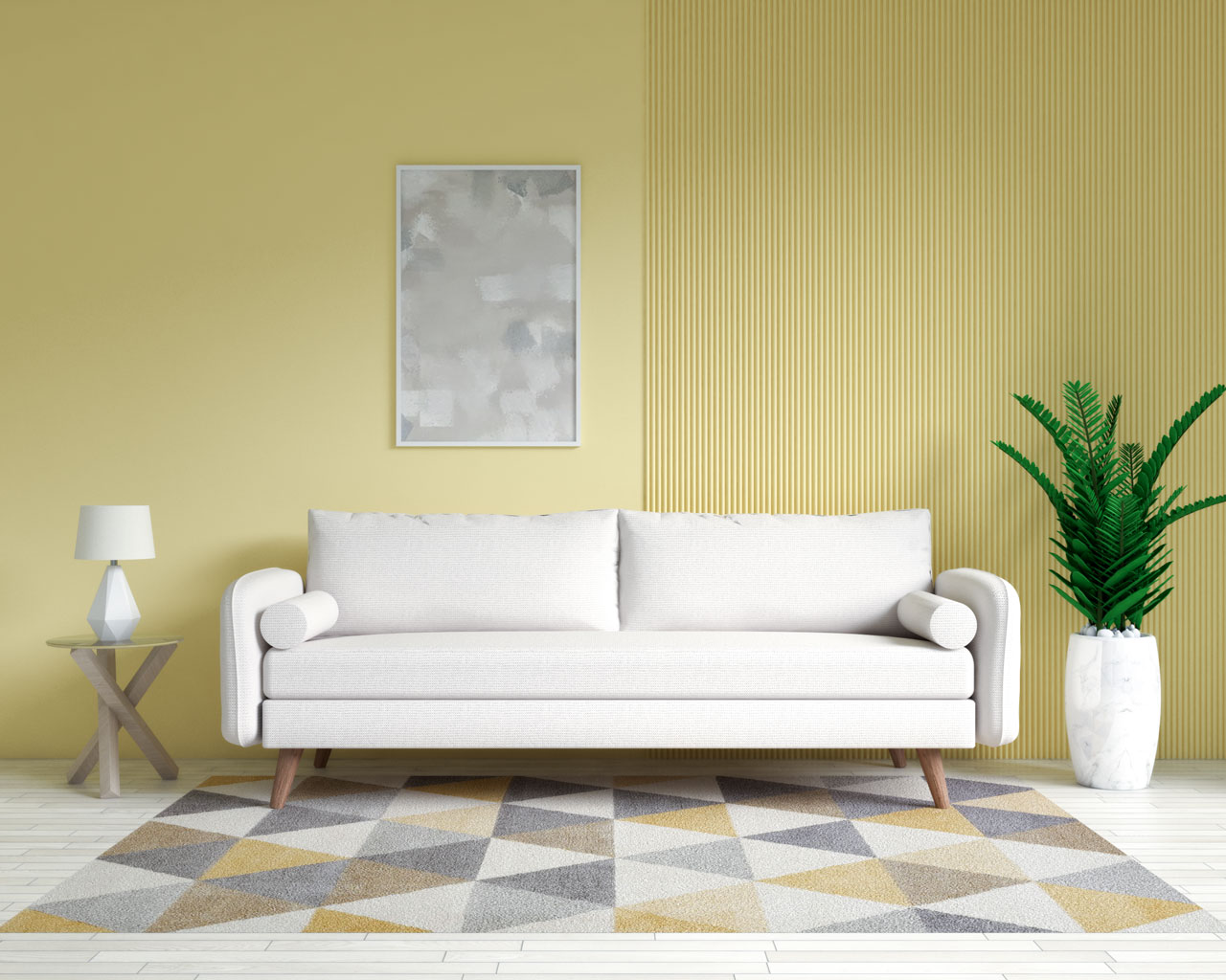Beige couch with yellow accent wall