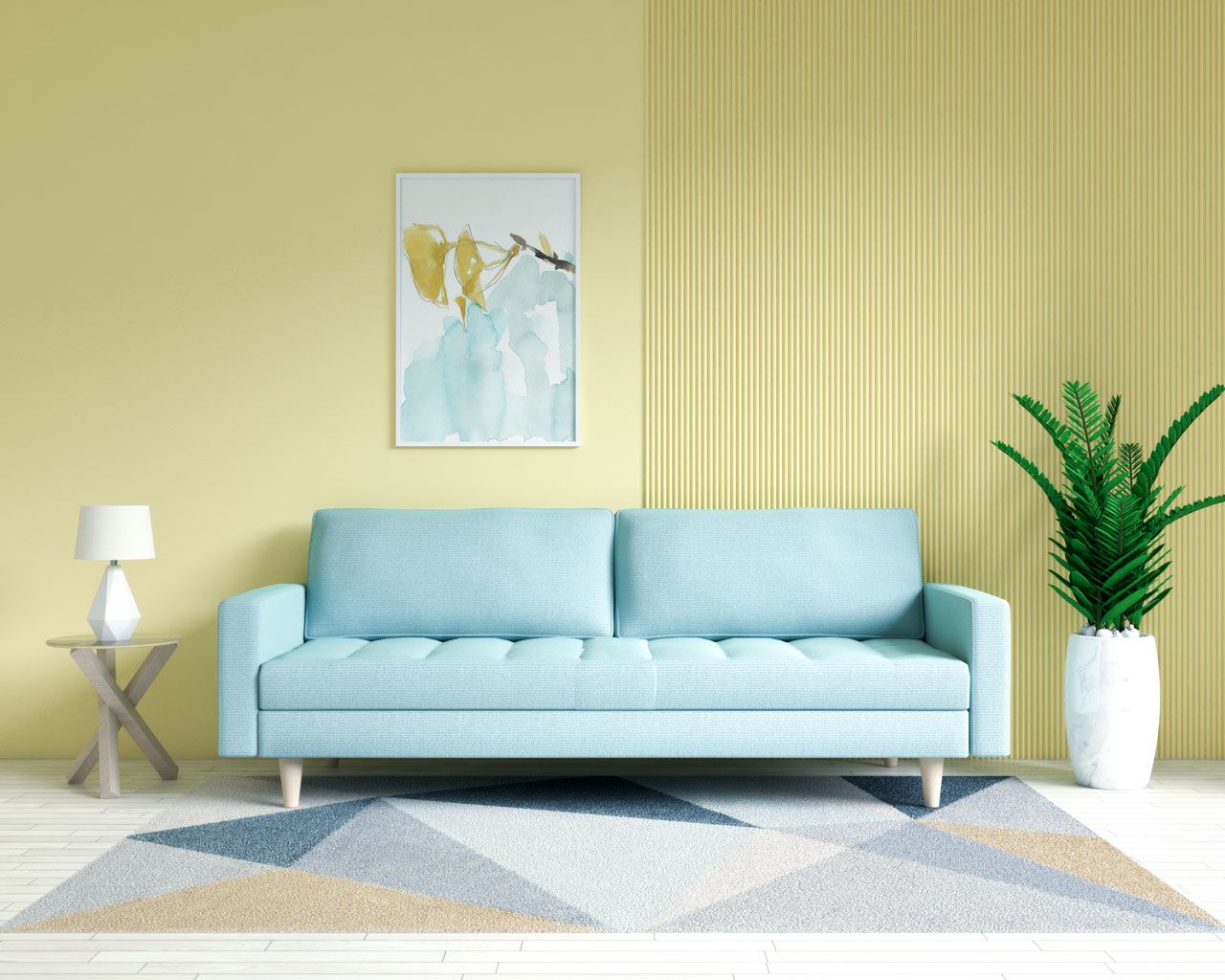 Mint couch with yellow walls