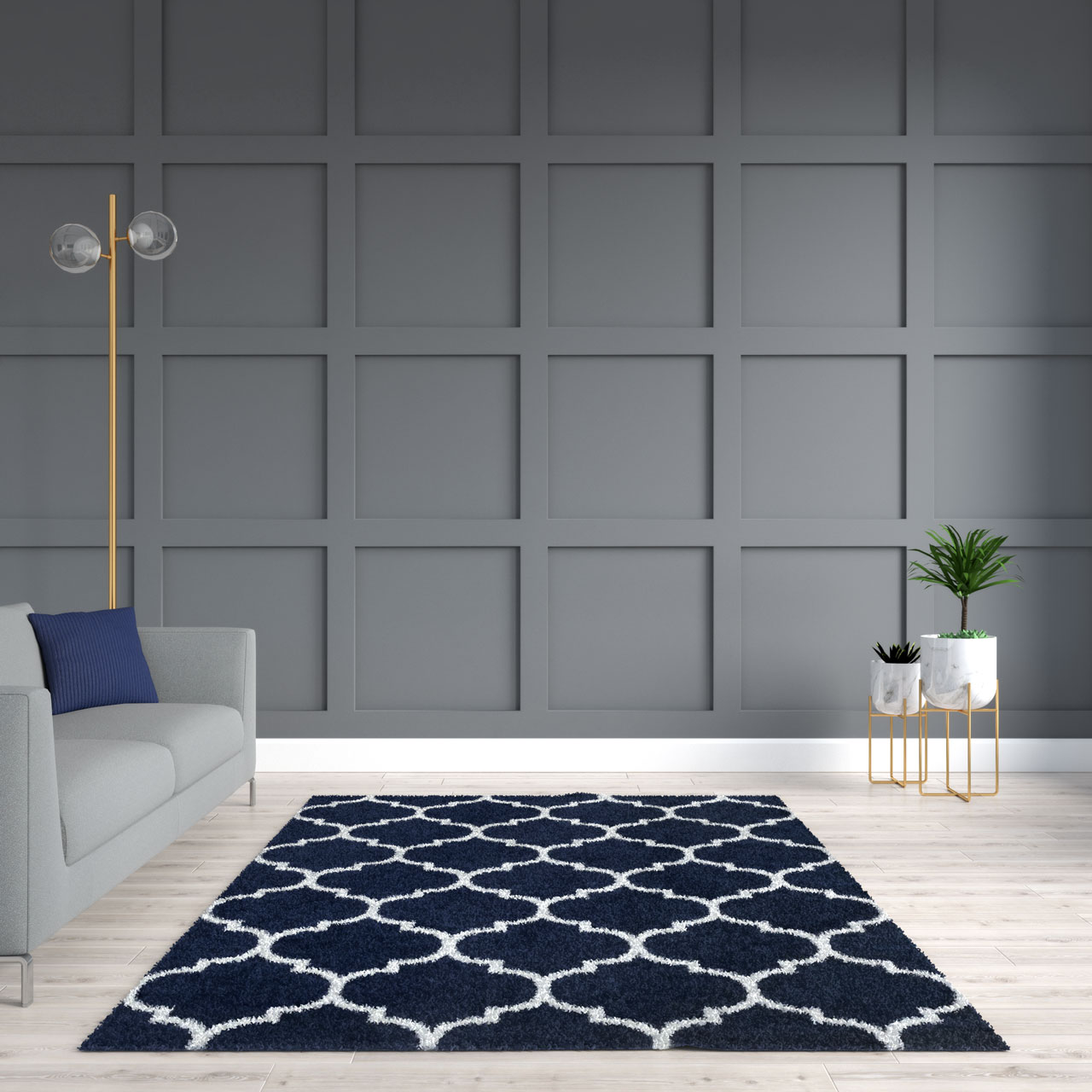 Navy rug with gray accent wall