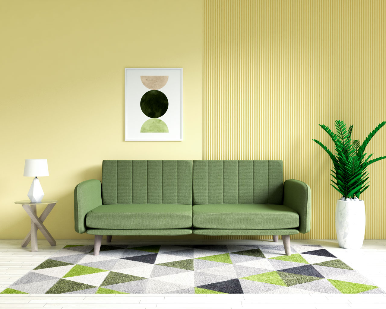 Olive green couch with yellow walls