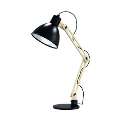 black and wood swing arm table lamp