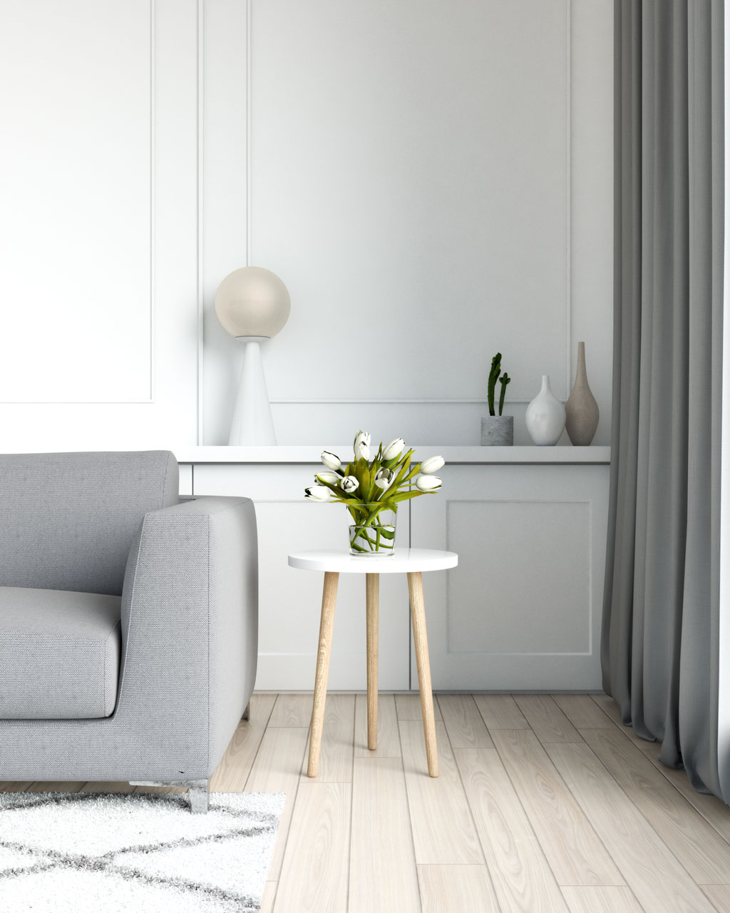 Simple white table with grey couch