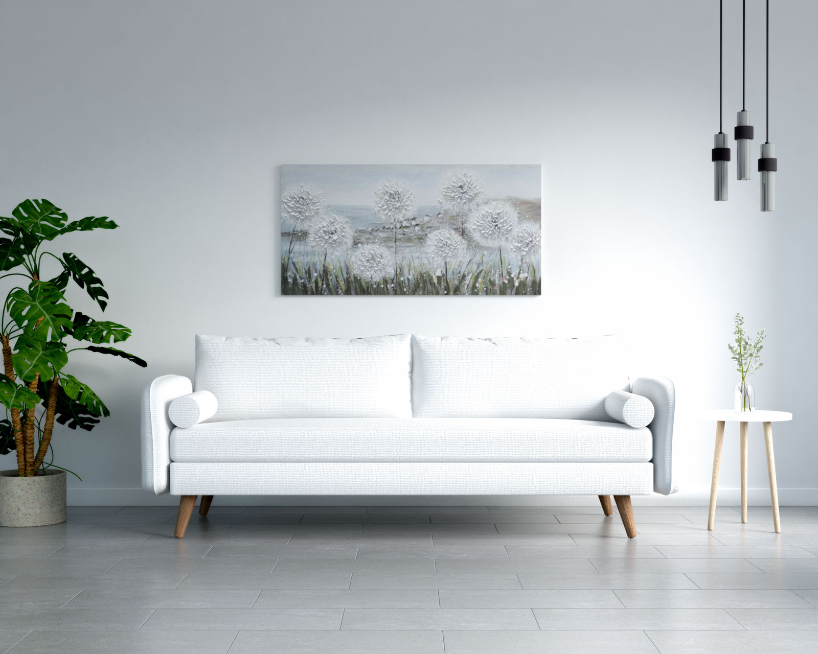 White couch in living room with gray flooring