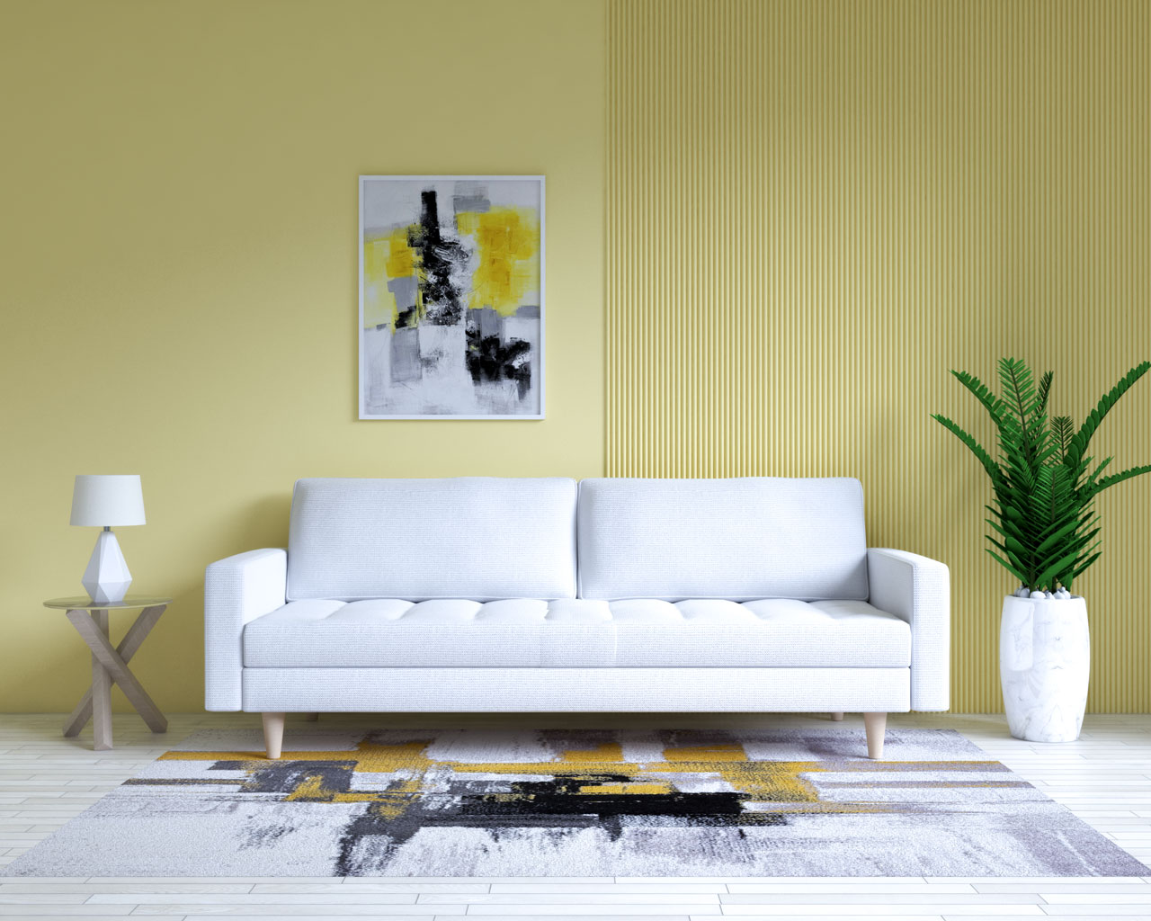 White couch with yellow accent wall