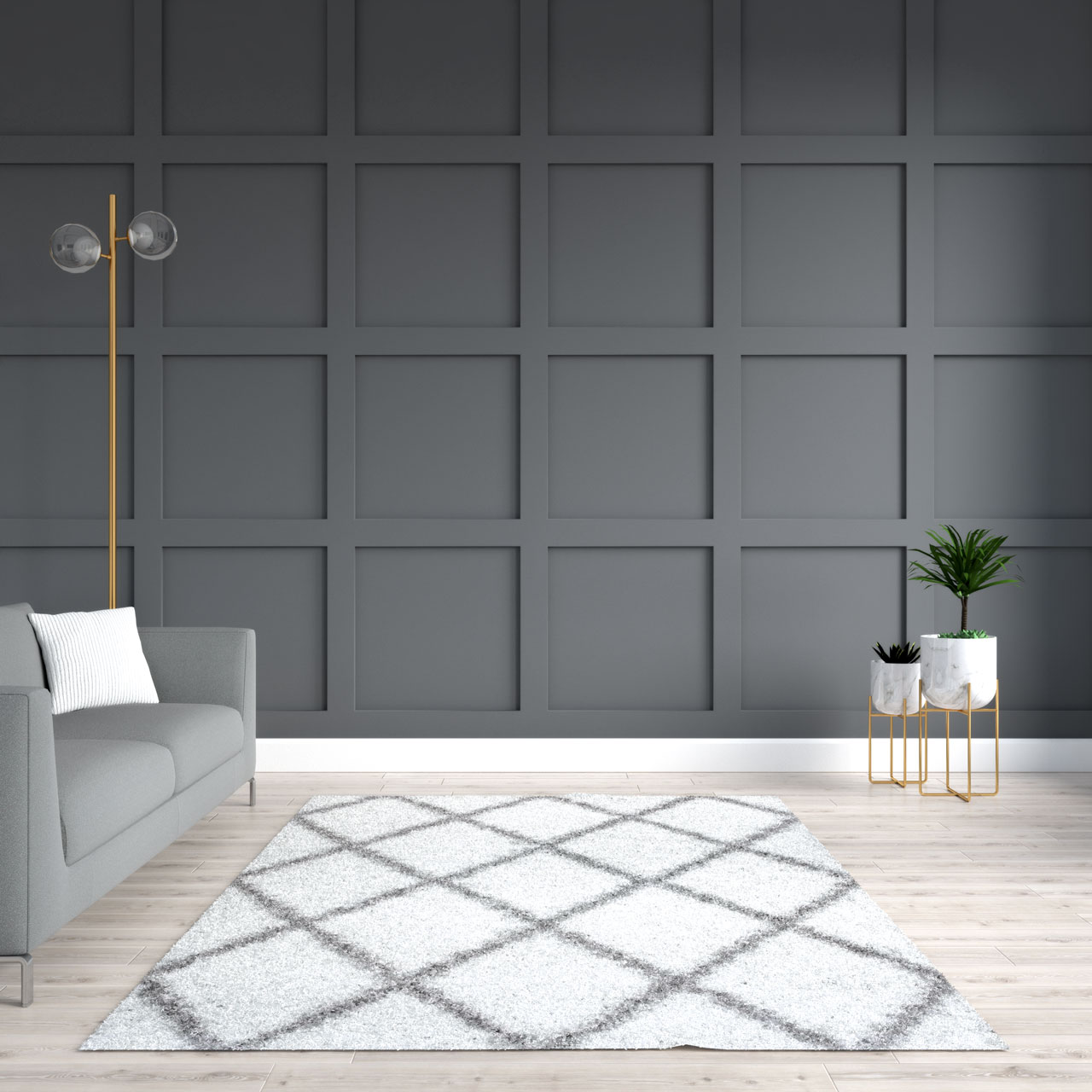 Gray wall with white area rug