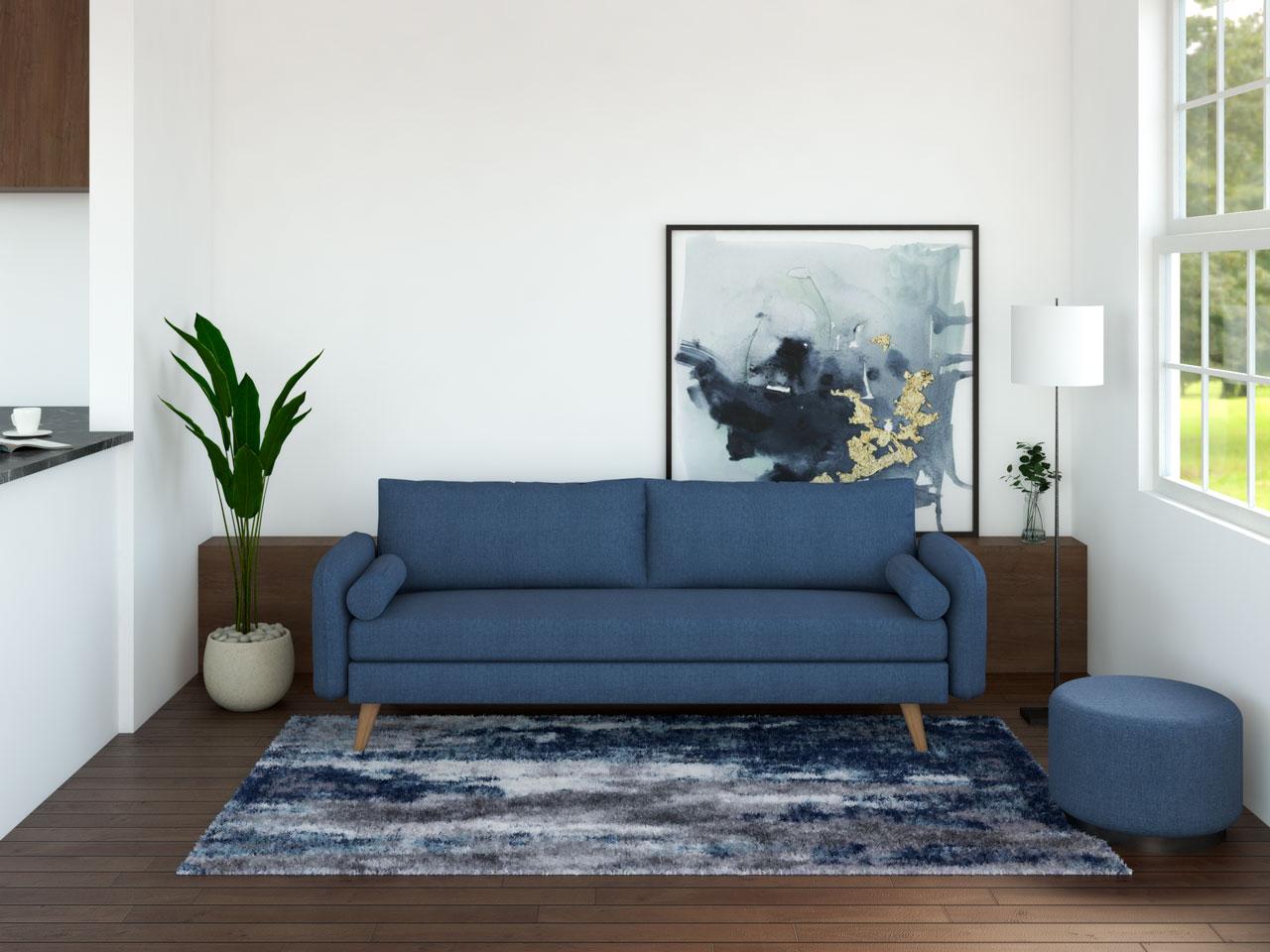 Blue furniture with dark flooring
