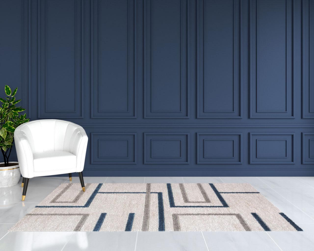 Beige and blue rug in blue living room