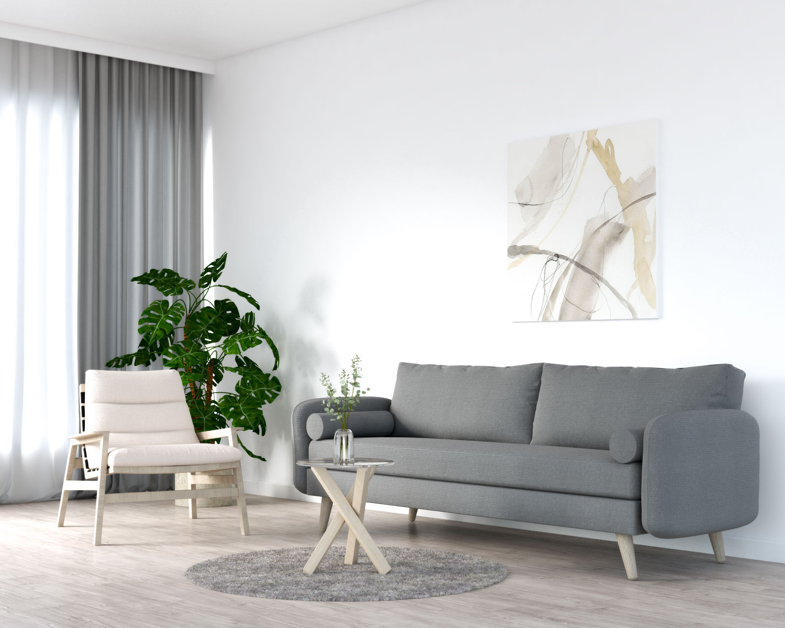 Beige chair with grey couch