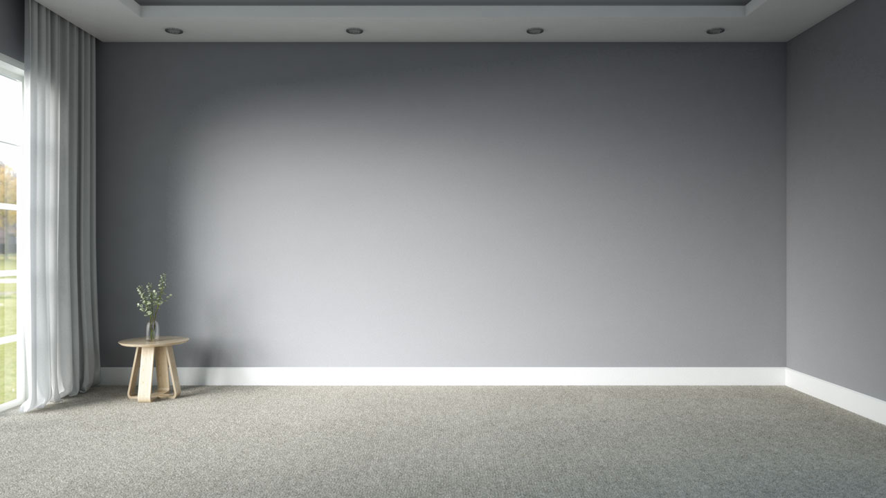 Beige carpeting with gray wall