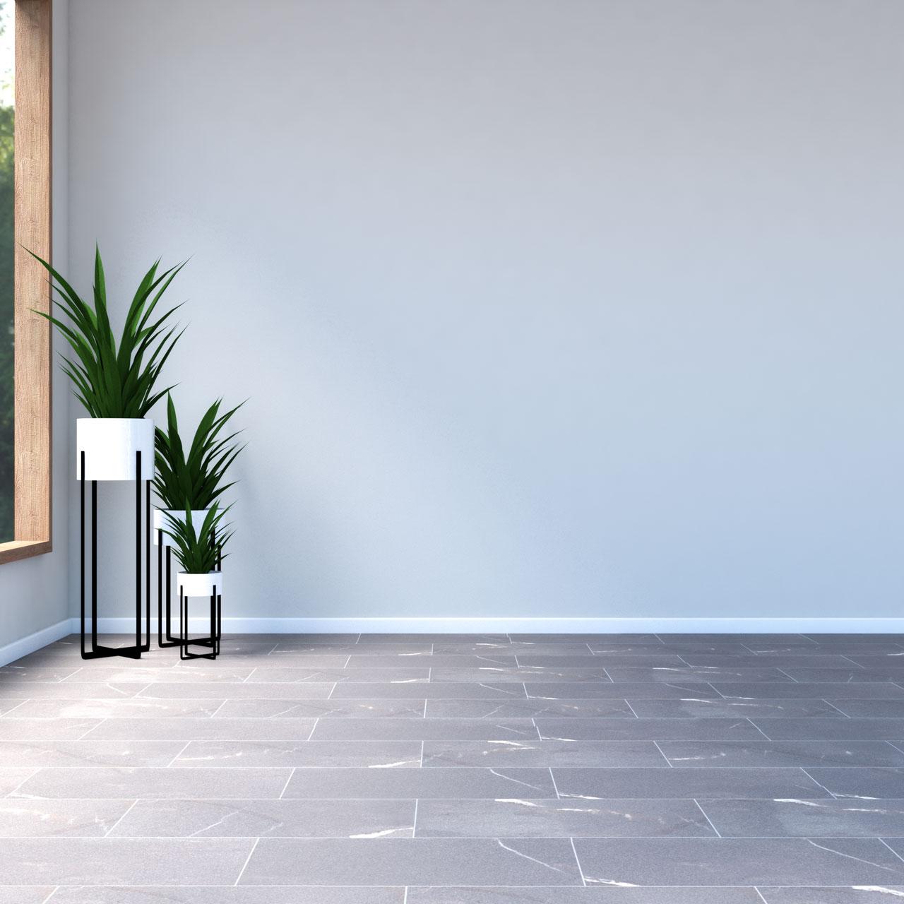 Beige walls with brown floors