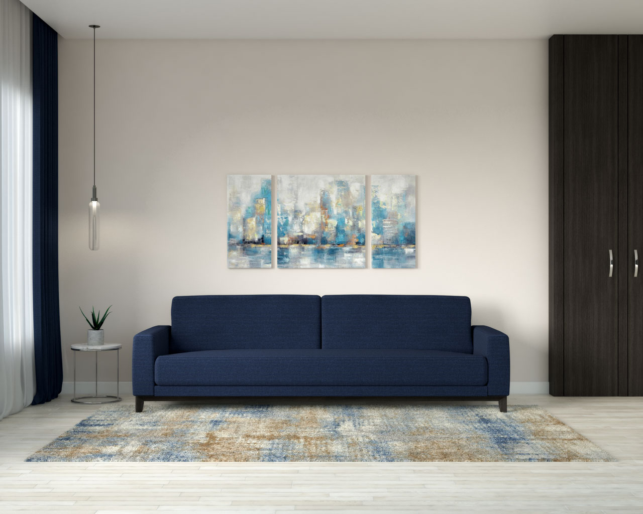 Beige wall with navy blue couch
