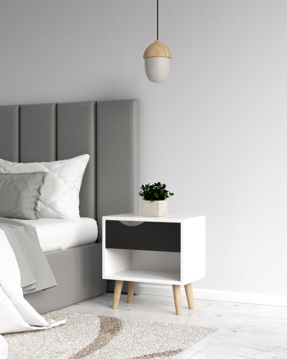 Scandinavian style black and white nightstand table