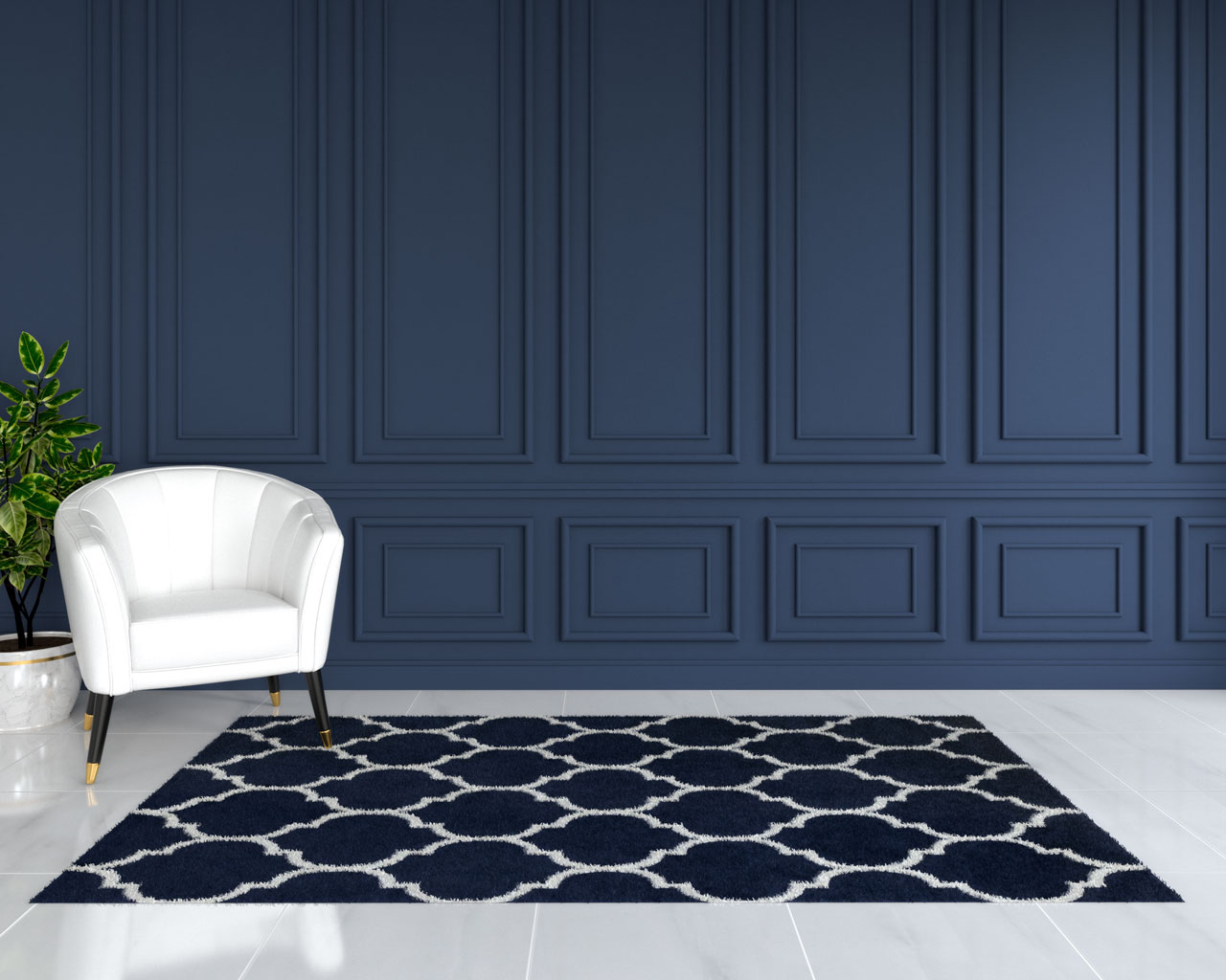 navy blue and white rug with dark blue accent wall