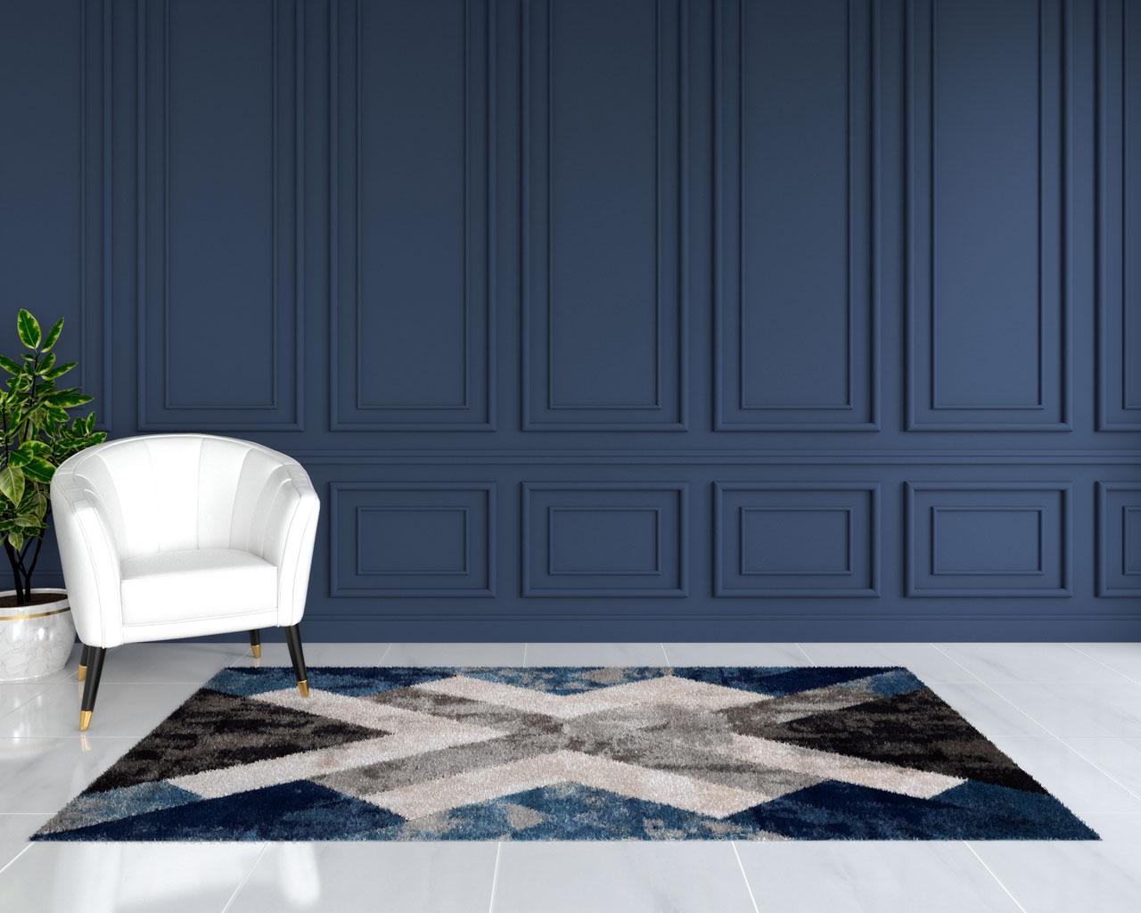 Black and blue rug