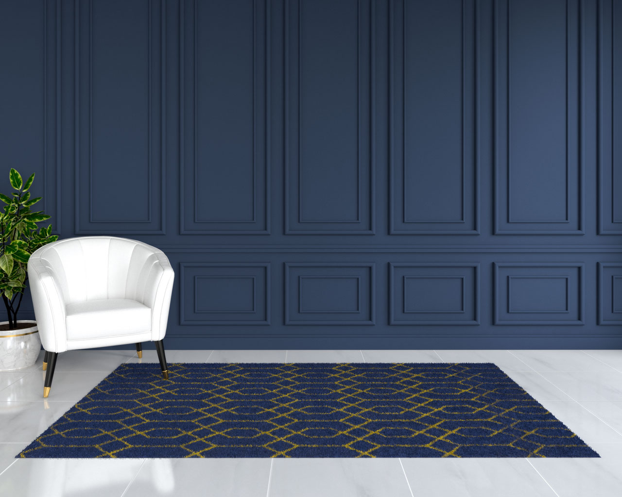 Blue and gold area rug