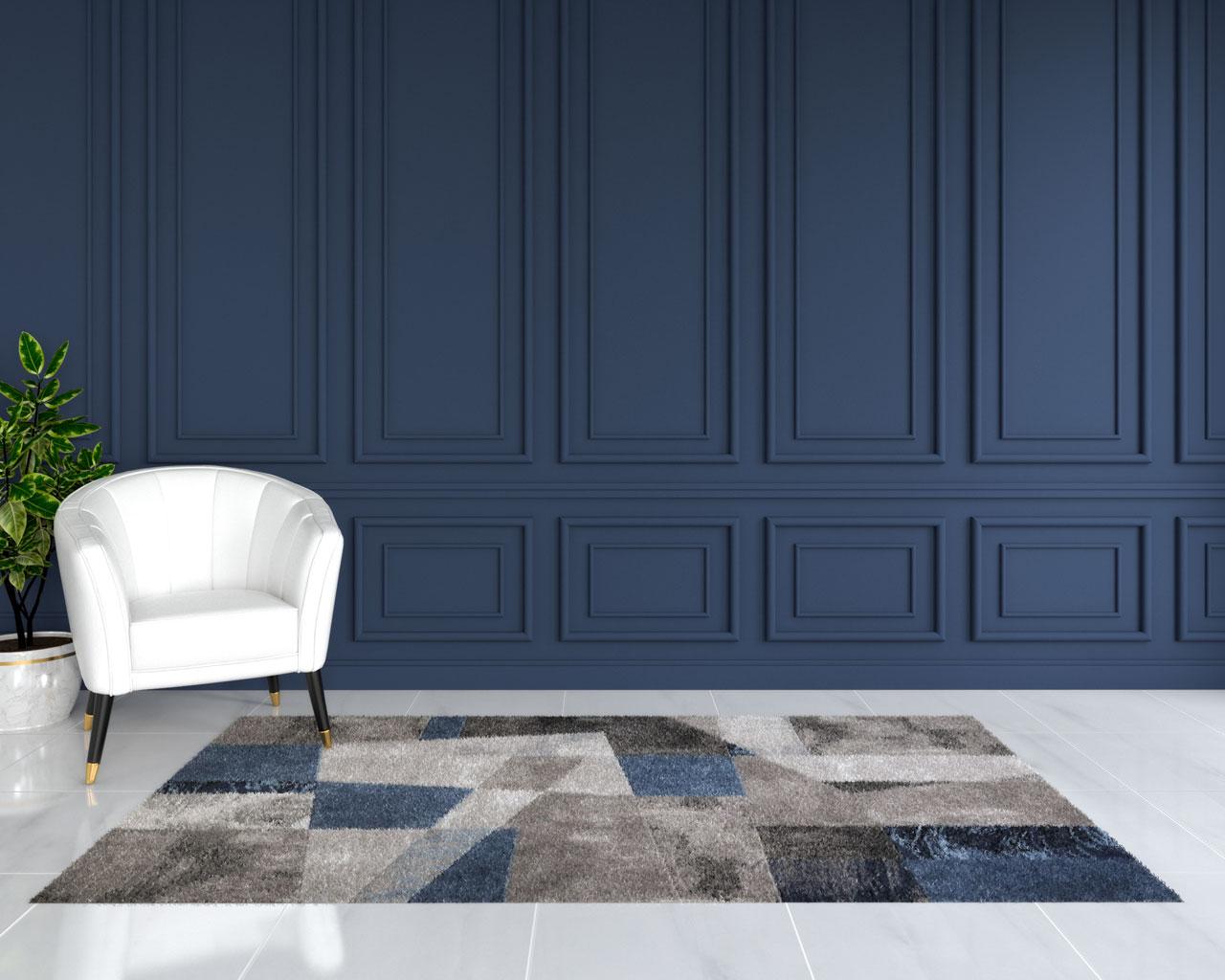 Modern geometric blue and gray rug