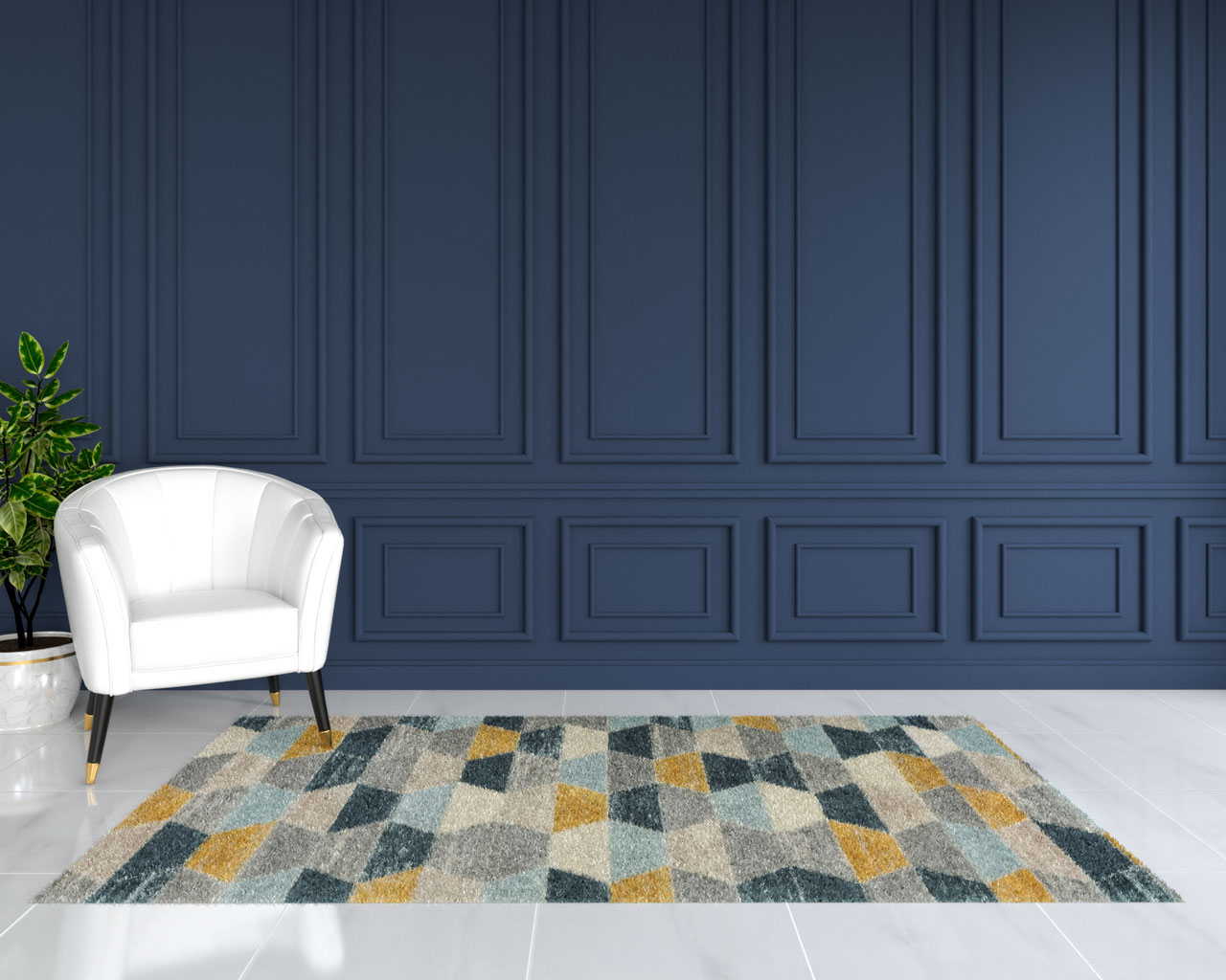 Blue and yellow rug with dark blue walls
