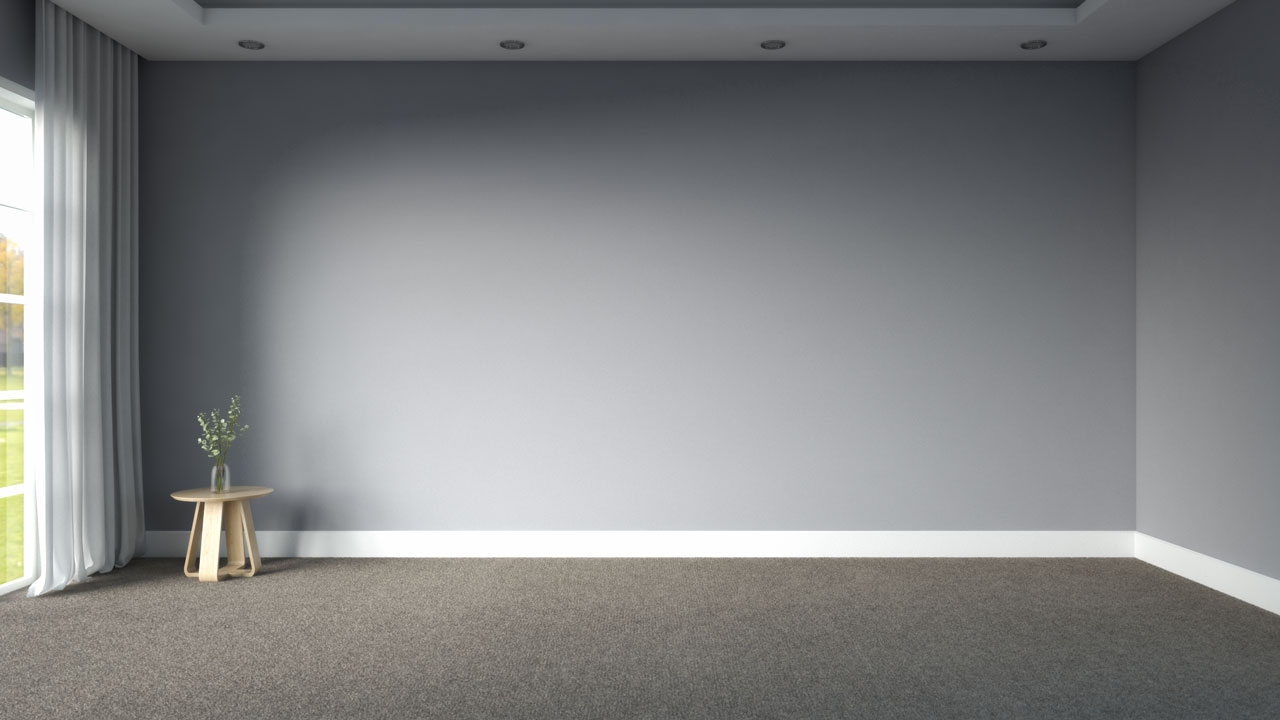Light brown carpet flooring in a room with gray walls