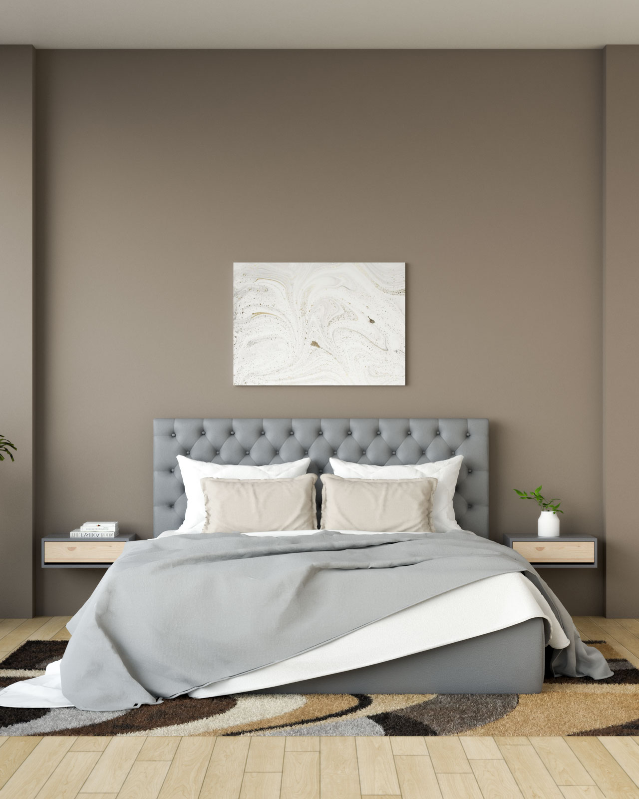 Brown wall with gray bedding