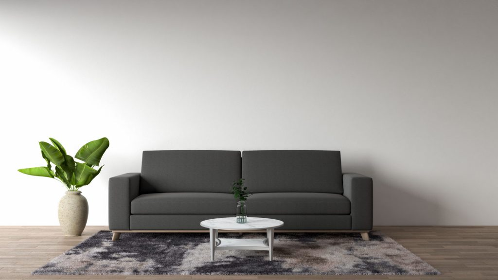 Living room with a boring dark gray couch