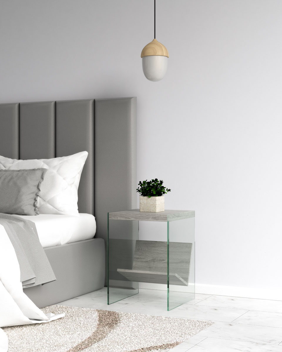 Modern contemporary gray wood and glass bedside table