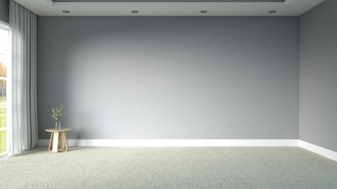 Cream carpeting with grey wall