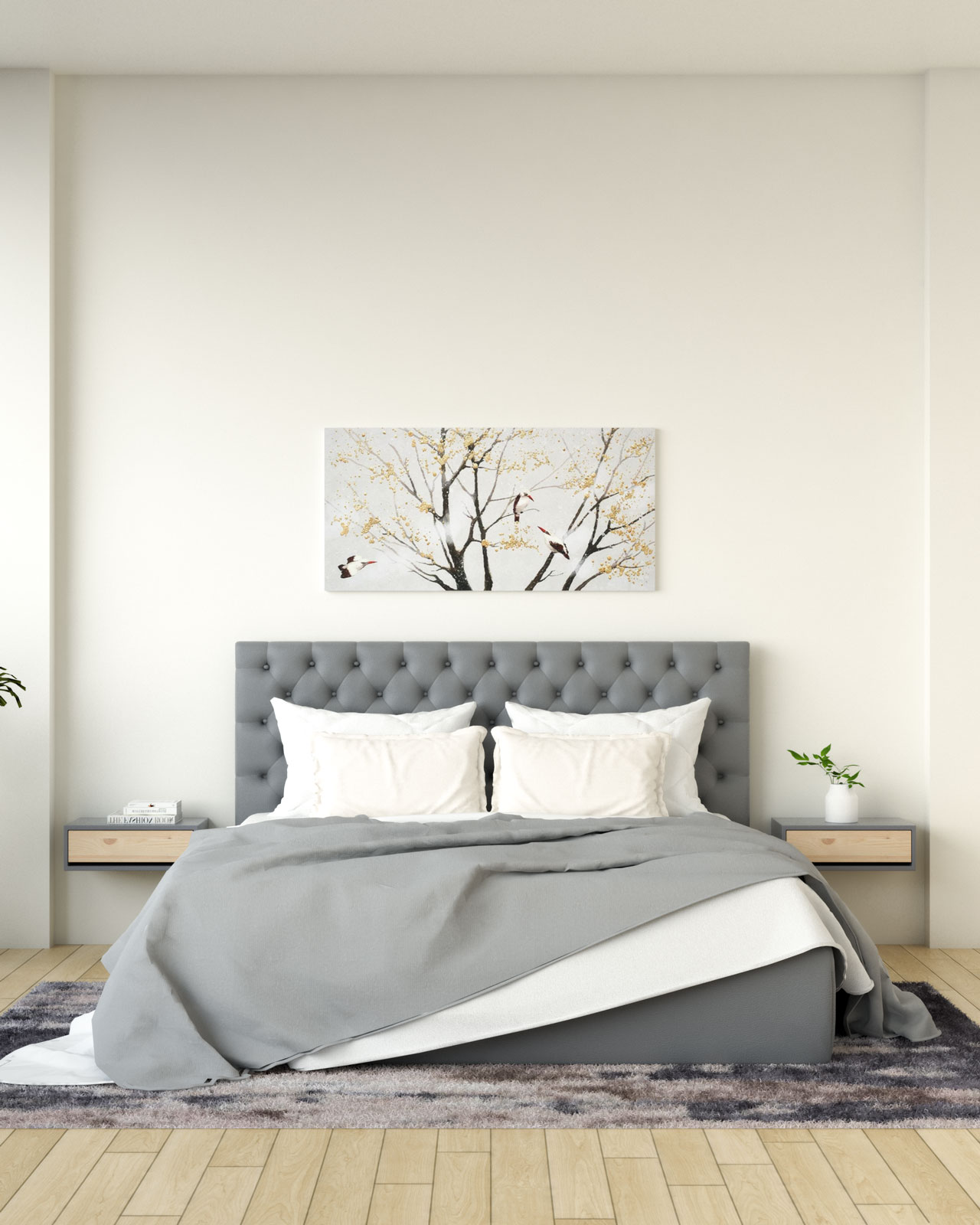 Cream walls behind gray bed