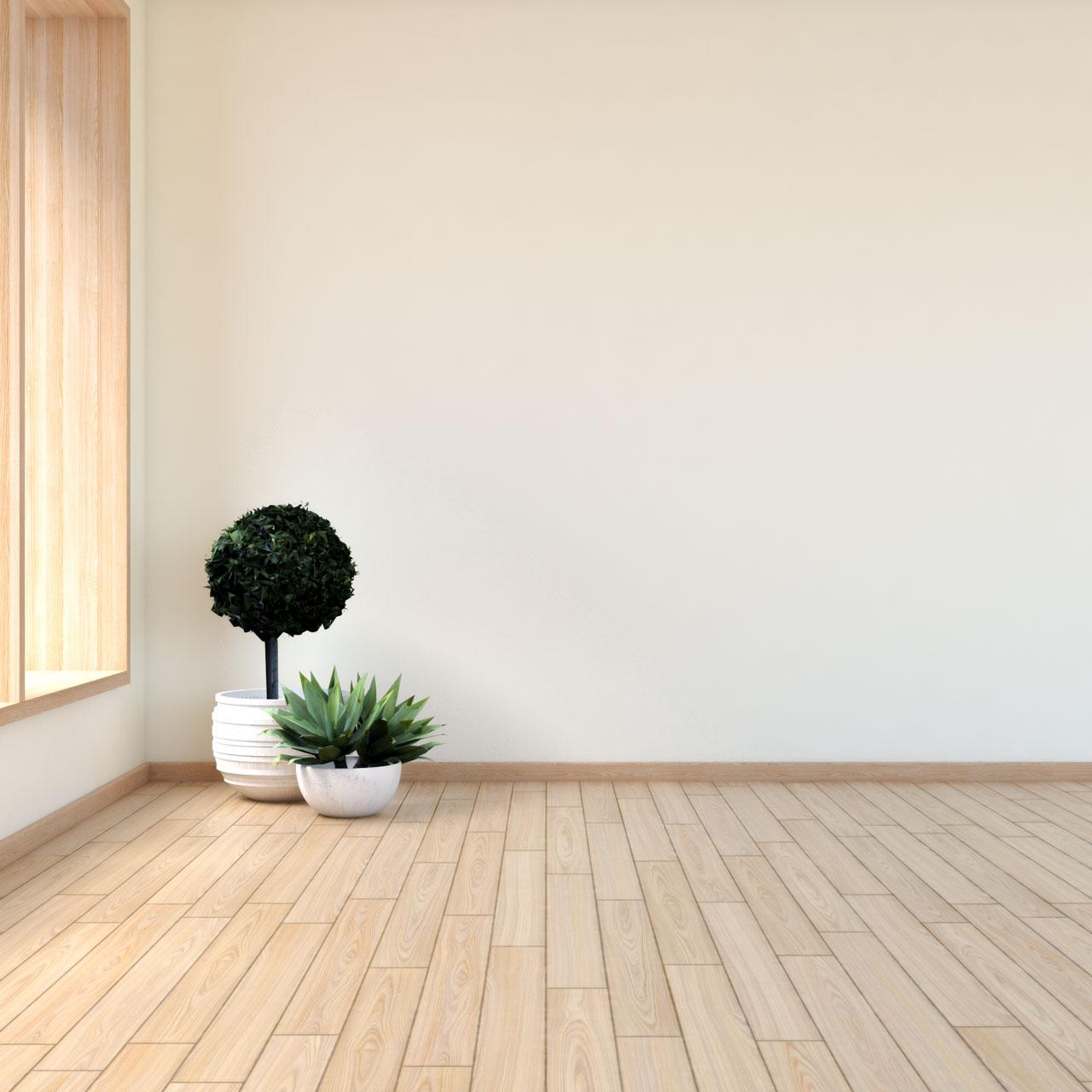 Cream walls with natural wood flooring