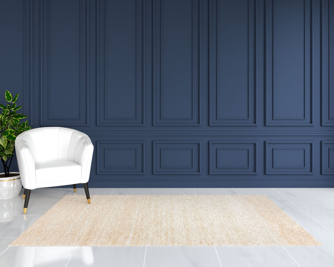 Cream rug with blue walls