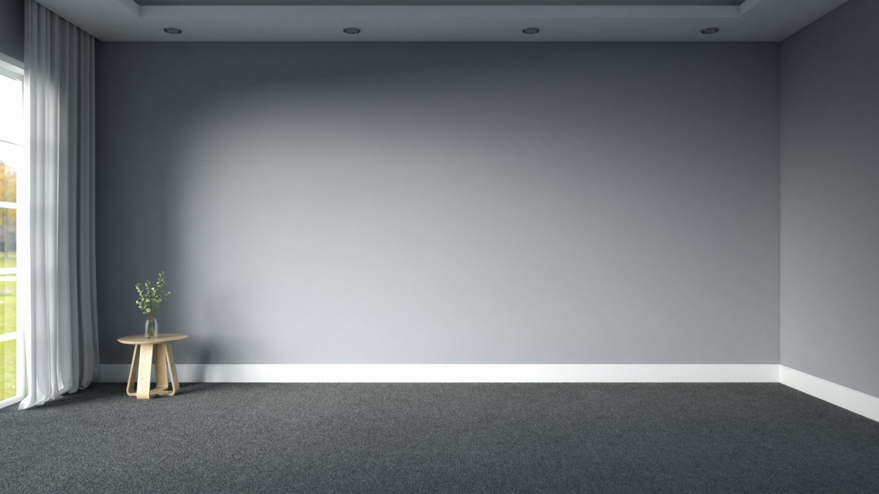 Dark gray carpets with gray wall