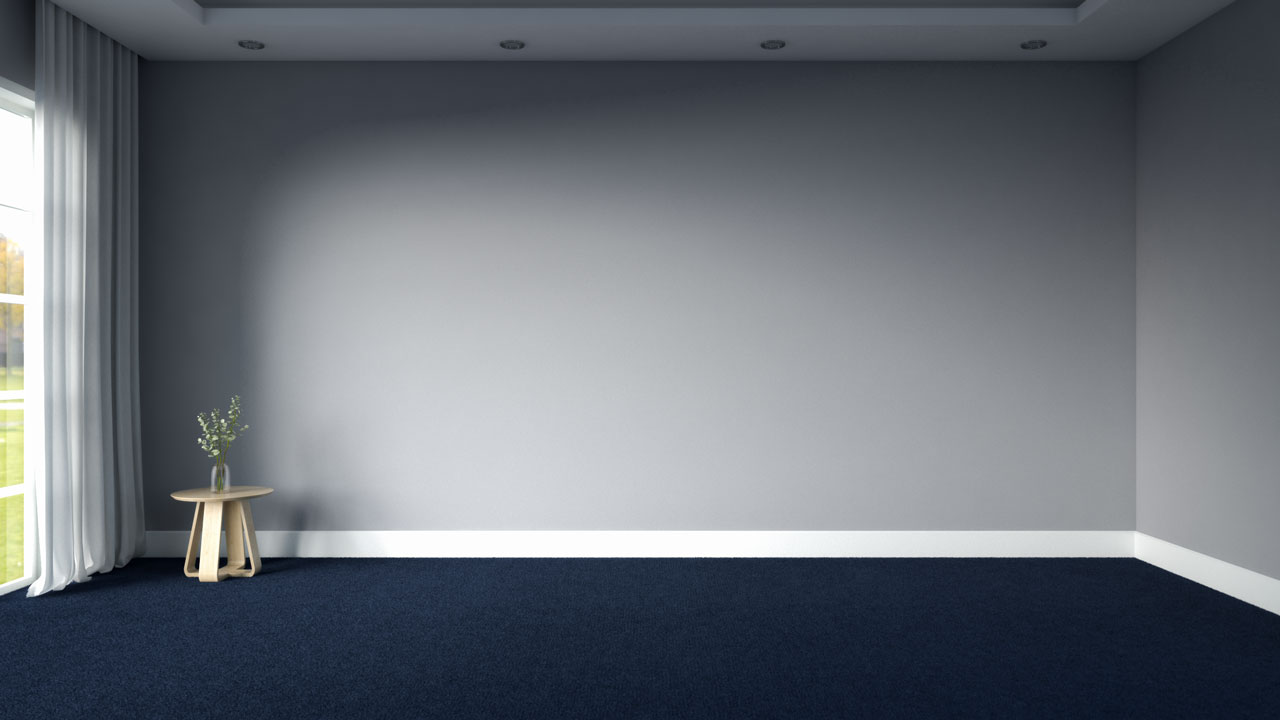 Navy blue carpet with grey walls