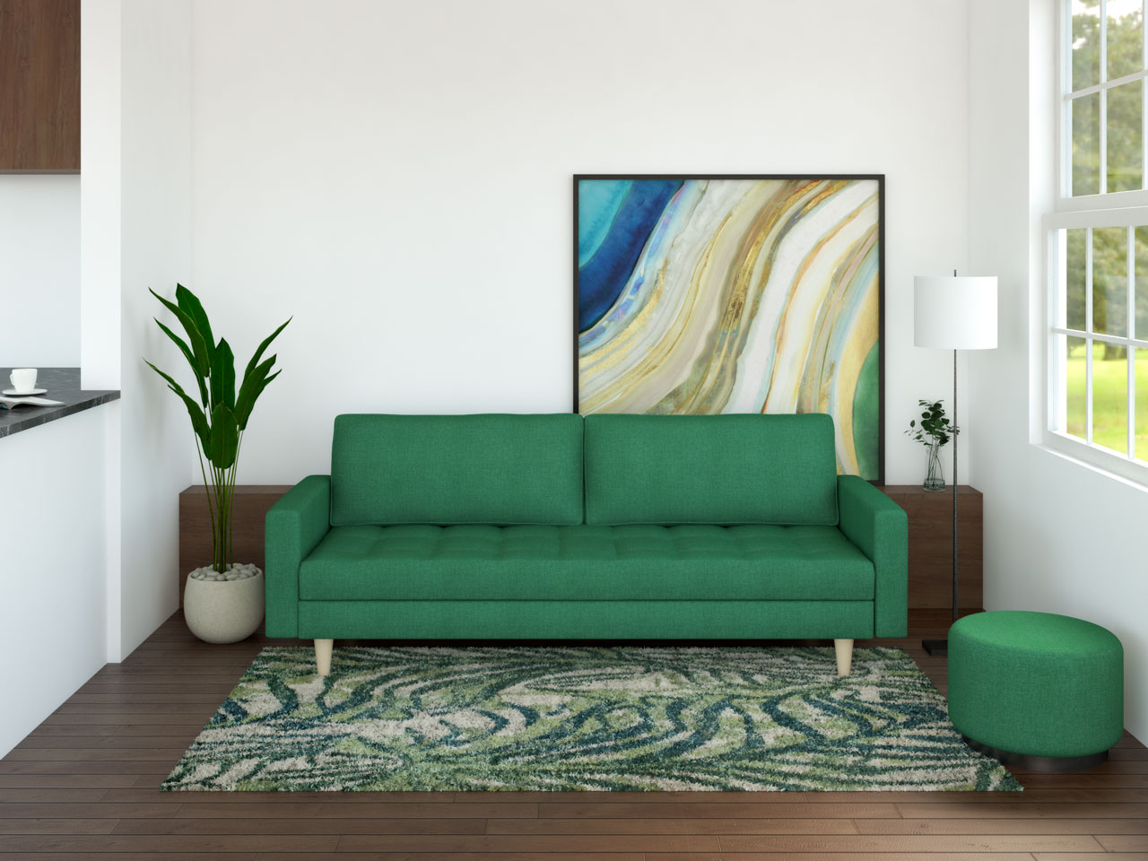 Emerald green furniture with dark brown wood floors