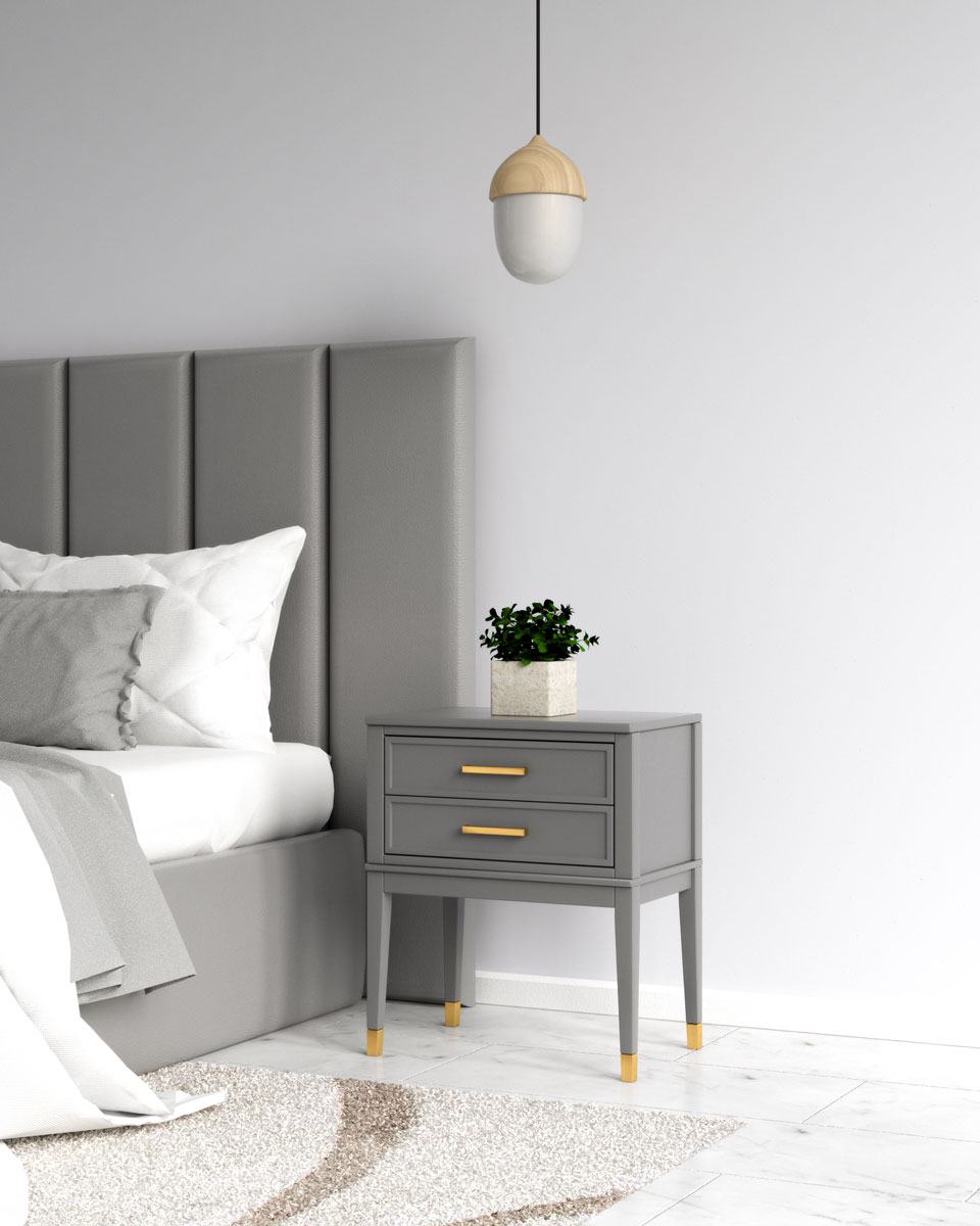 Glamorous gray and gold end table