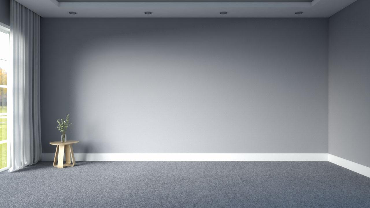 gray carpet with gray walls
