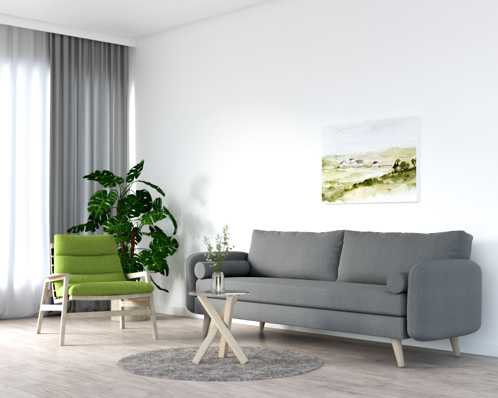 Olive green accent chair with gray sofa