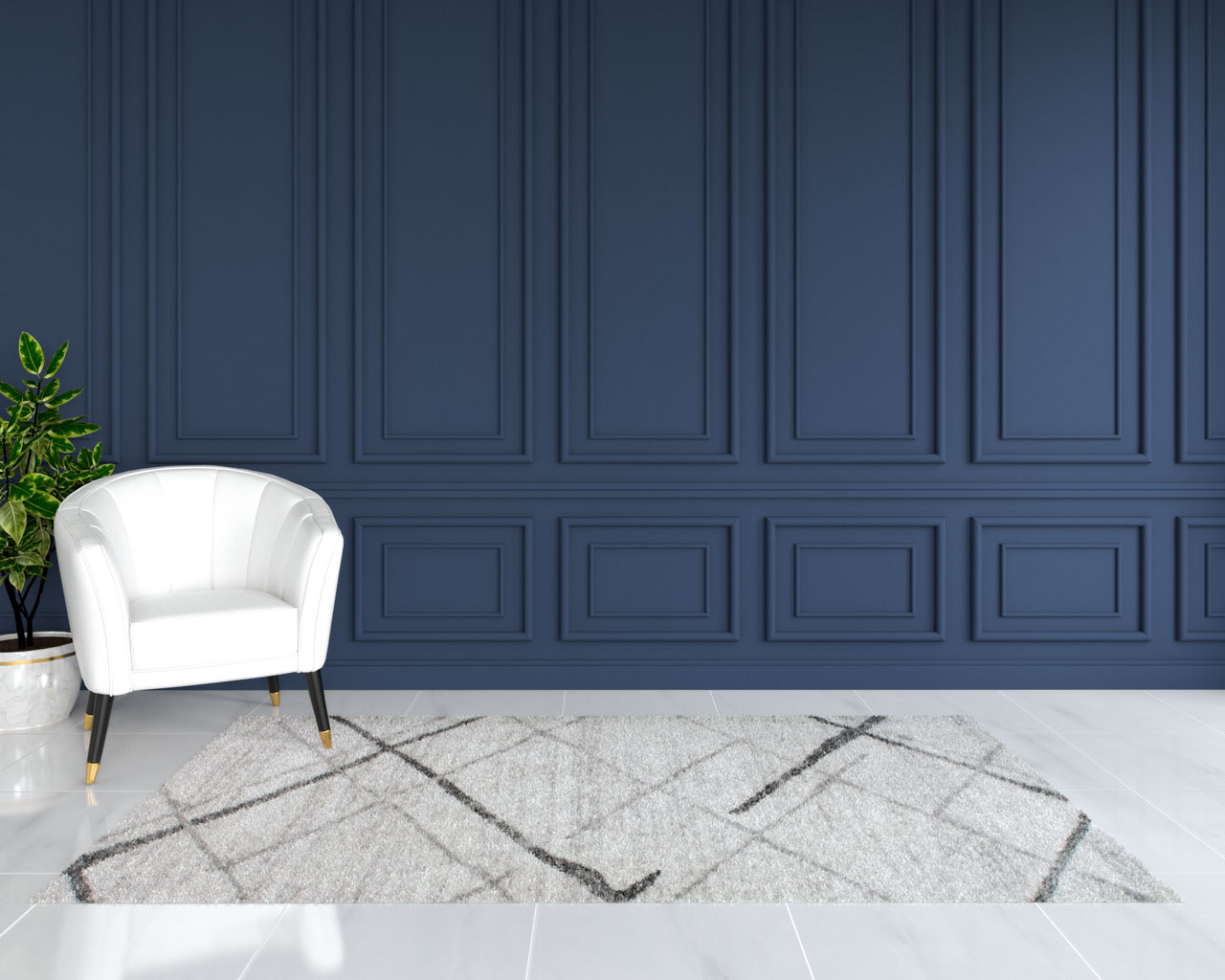 Light gray rug with navy blue wall