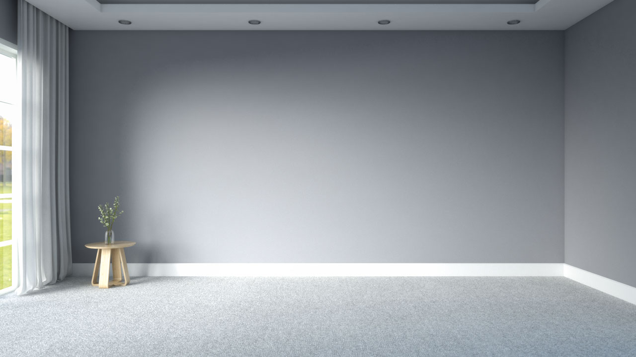 White carpet floors with gray walls