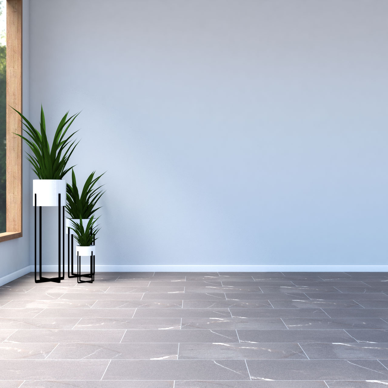 Grey walls with brown tile flooring