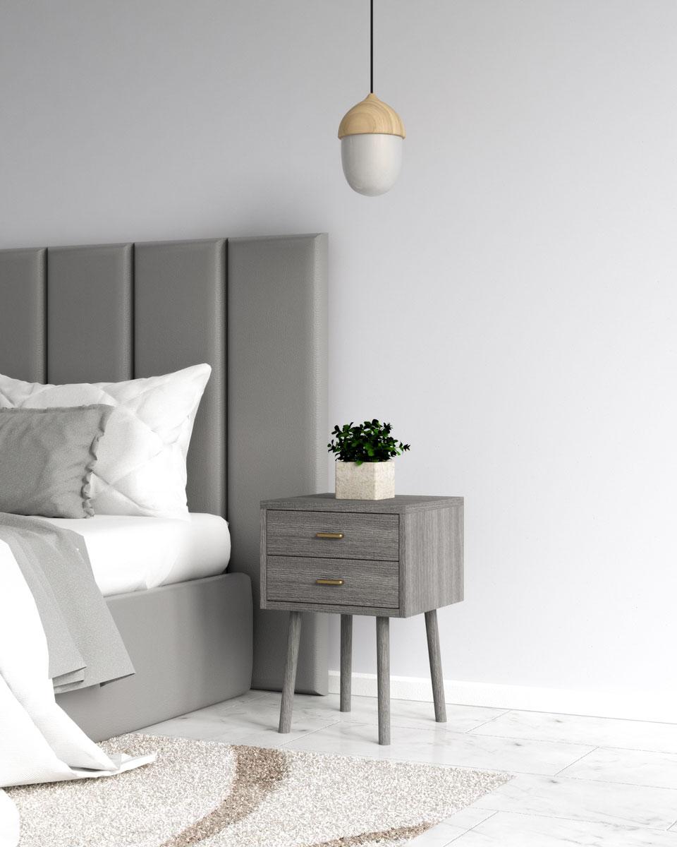 Vintage gray weathered wood nightstand table