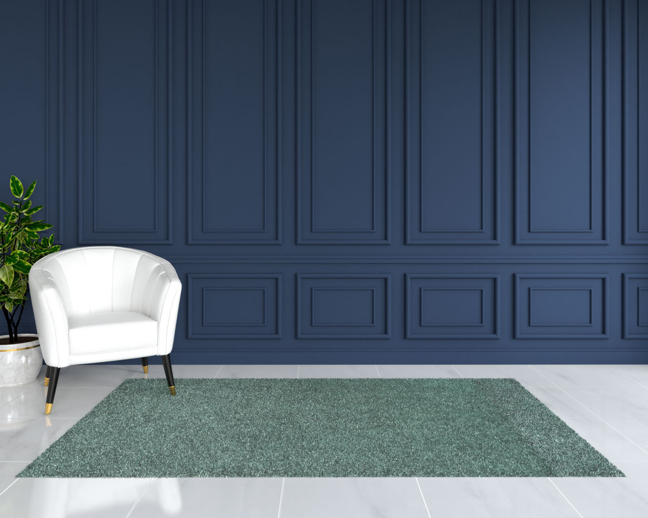 Pale green rug with blue walls