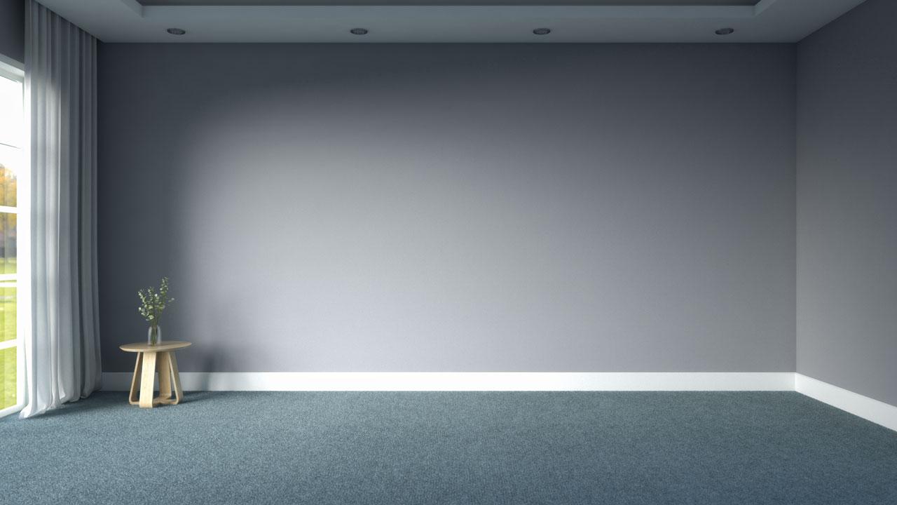 Light blue carpet floors with gray walls