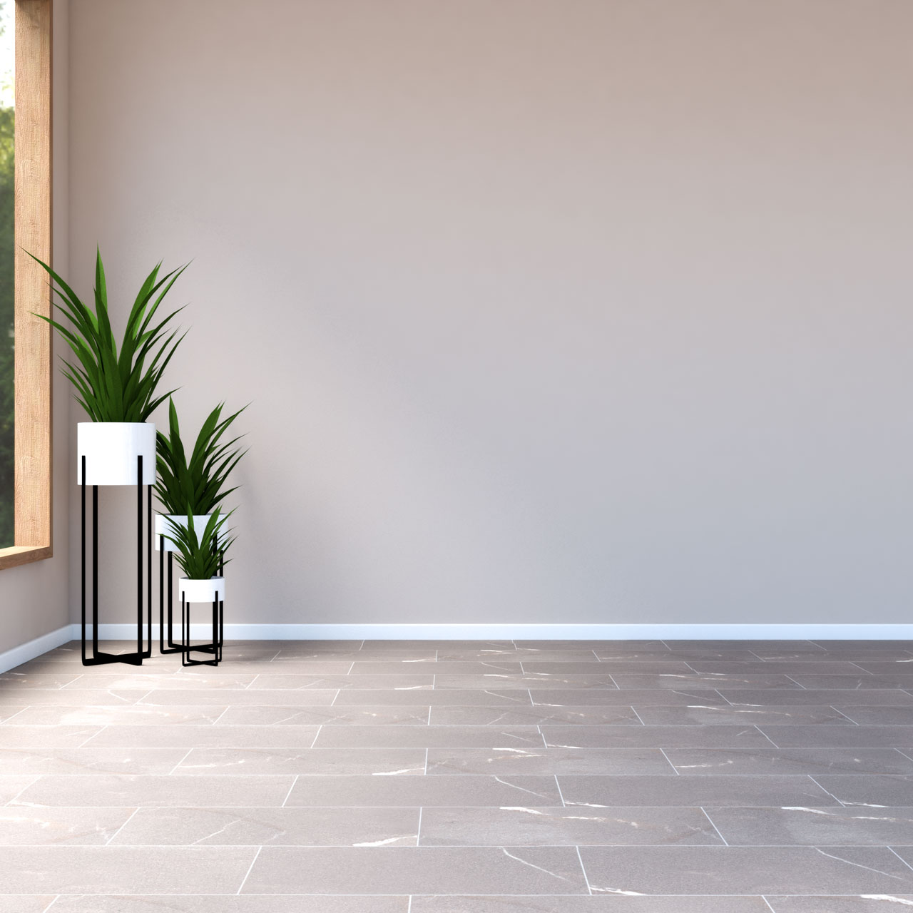 Tan walls with brown tile flooring