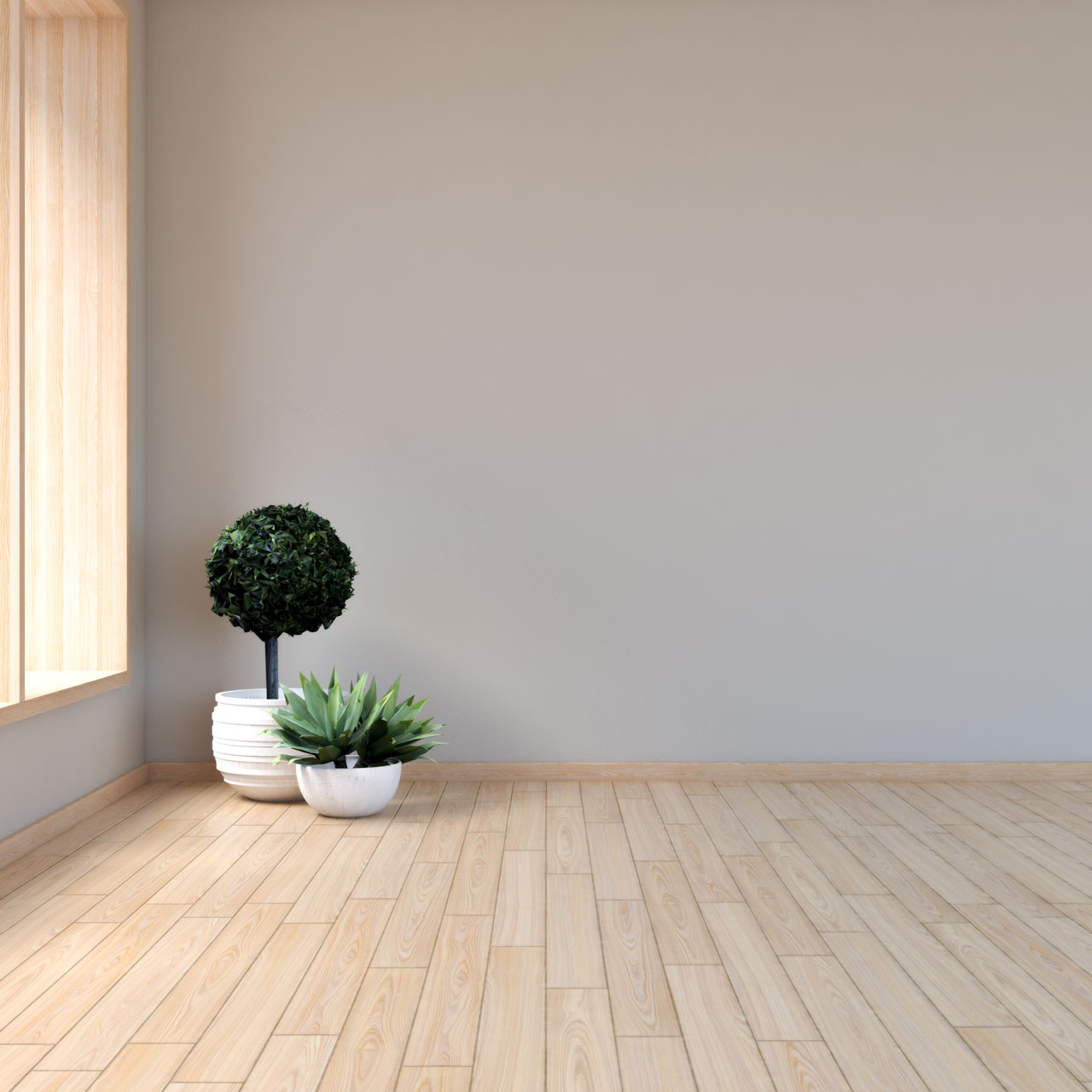 Light brown wall with maple floors